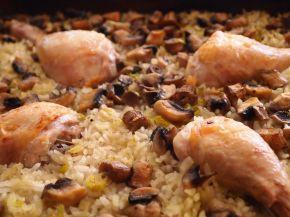 Снимка 1 от рецепта за Пилешки бутчета с ориз и гъби