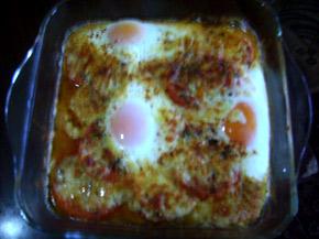 Снимка 1 от рецепта за Яйца върху домати на фурна
