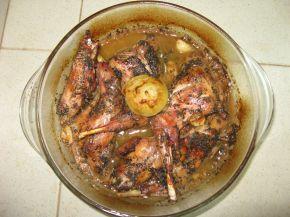 Снимка 1 от рецепта за Печен заек с гъша мас в йена стъкло