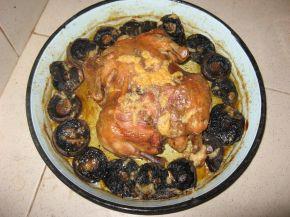 Снимка 1 от рецепта за Печено пиле с гъби и кашкавал