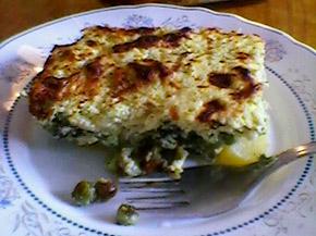 Снимка 1 от рецепта за Огретен от спанак, картофи, тиквички и грах