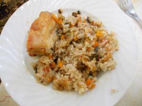 Снимка 1 от рецепта за Пиле с ориз и зеленчуци на фурна