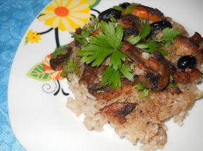 Снимка 1 от рецепта за Ориз с гъби, моркови и маслини