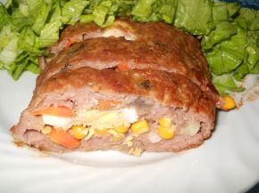 Снимка 1 от рецепта за Руло от кайма и гъби и пъстра плънка