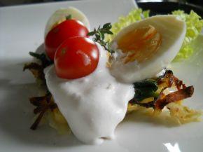 Снимка 1 от рецепта за Картофени гнезда със спанак и сметана