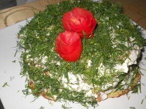 Снимка 1 от рецепта за Солена палачинкова торта с тиквички и моркови