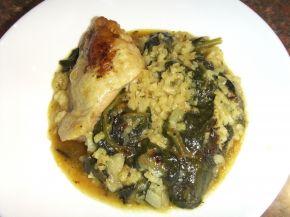 Снимка 1 от рецепта за Пилешко със спанак и ориз