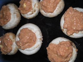 Снимка 2 от рецепта за Гъби с кайма, сметана и кашкавал