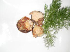 Снимка 6 от рецепта за Гъби с шунков колбас, кашкавал и топено сирене