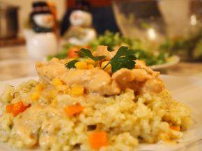 Снимка 2 от рецепта за Жълто пиле върху канапе от ориз