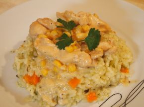 Снимка 3 от рецепта за Жълто пиле върху канапе от ориз