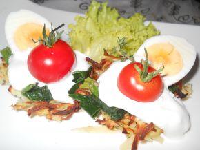Снимка 2 от рецепта за Картофени гнезда със спанак и сметана