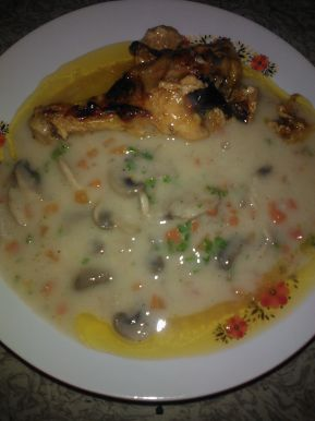 Снимка 4 от рецепта за Къпани пилешки бутчета с гъбен сос