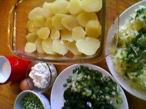 Снимка 2 от рецепта за Огретен от спанак, картофи, тиквички и грах
