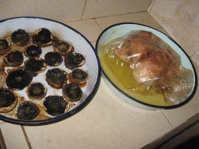 Снимка 4 от рецепта за Печено пиле с гъби и кашкавал