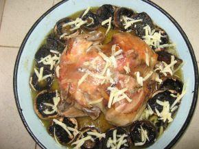 Снимка 5 от рецепта за Печено пиле с гъби и кашкавал