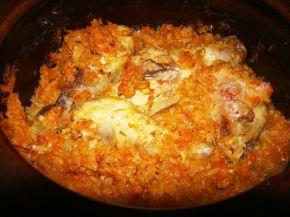Снимка 2 от рецепта за Печено прясно зеле с пилешко