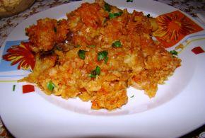 Снимка 4 от рецепта за Печено прясно зеле с пилешко