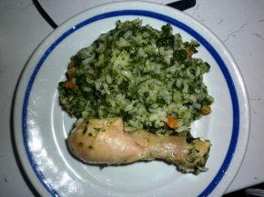 Снимка 2 от рецепта за Пиле със зелен ориз