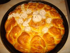 Снимка 5 от рецепта за Питка със сирене и украса от тесто