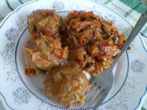 Снимка 4 от рецепта за Прясно зеле с кюфтета на фурна