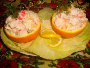 Снимка 2 от рецепта за Салата с ролца от раци и портокал
