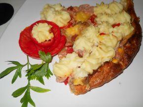 Снимка 8 от рецепта за Тарта от бутер тесто с кайма и картофено пюре