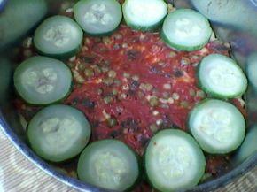 Снимка 2 от рецепта за Зеленчуков чийзкейк с качамак