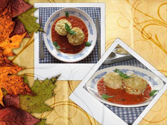 Снимка 1 от рецепта за Мъфини от спагети в доматен сос
