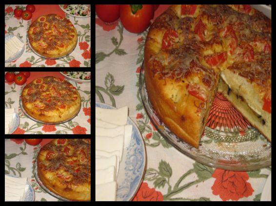 Снимка 1 от рецепта за Пълнена фокача с патладжан и козе сирене