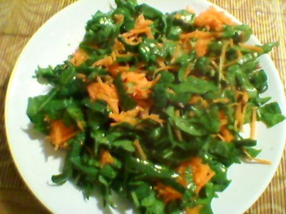 Снимка 2 от рецепта за Салата от репички, моркови, спанак, маруля и зелен лук