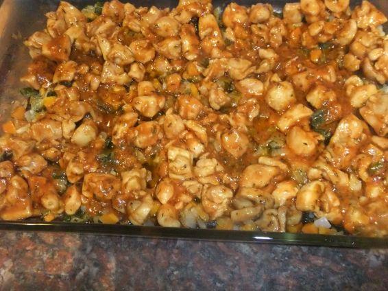Снимка 4 от рецепта за Запеканка с пилешко филе, тиквички и сварени картофи